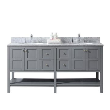 Virtu USA Winterfell 72-in Gray Double Sink Bathroom Vanity with Italian Carrara White Marble Top (Mirror Included)