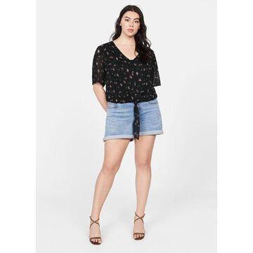 Violeta BY MANGO - Plumeti embroidered blouse black - 18 - Plus sizes