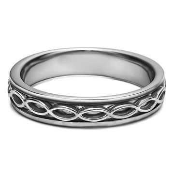 TwoBirch Celtic Infinity Men's Wedding Band in Solid Platinum