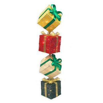 Northlight Outdoor Pre-Lit Gift Box Tower
