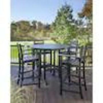Trex Outdoor Furniture Monterey Bay 5-Piece Black Plastic Frame Bar Height Patio Set Bar Height