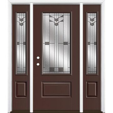 Masonite Frontier 64-in x 80-in Fiberglass 3/4 Lite Right-Hand Inswing Chocolate Painted Prehung Single Front Door with Sidelights with Brickmould