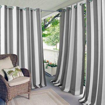 Elrene Aiden Stripe 84-Inch Indoor/Outdoor Window Curtain Panel in Grey