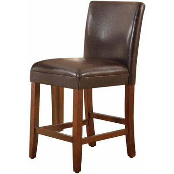 """HomePop 24"""" Faux Leather Barstool - Brown Faux Leather"""