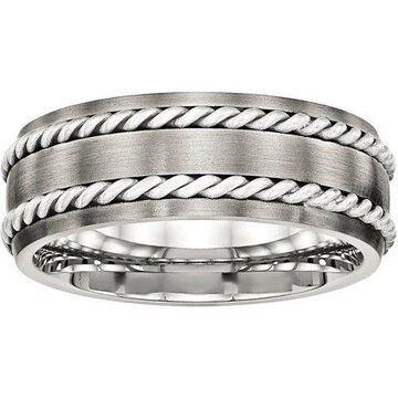 Primal Steel Primal Steel Stainless Steel Brushed w/Silver Double Twist Inlay Ring