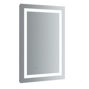 Fresca Luminosa 24-in x 36-in Fog Free Surface/Recessed Gray Mirrored Rectangle Medicine Cabinet with Outlet