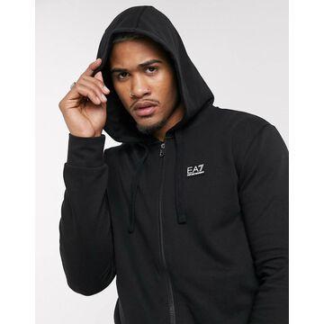 Armani EA7 Core ID rubberised logo hoodie in black