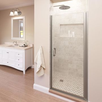 Basco Infinity 33-in to 34-in W Semi-frameless Brushed Nickel Hinged Shower Door