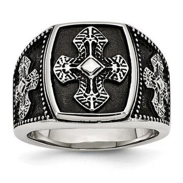 Primal Steel Stainless Steel Polished and Antiqued Cross Ring