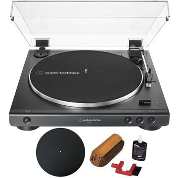 Audio-Technica AT-LP60X Black Automatic Belt-Drive Stereo Turntable Black + Essentials Bundle
