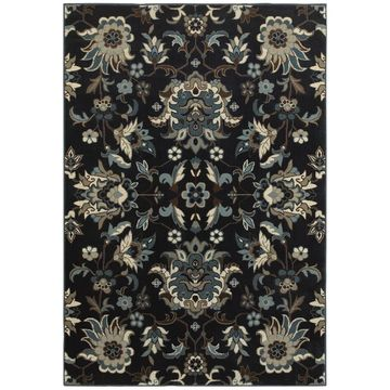 Style Haven Arcadian Flowers Navy/Blue Area Rug (9'10 x 12'10) - 9'10