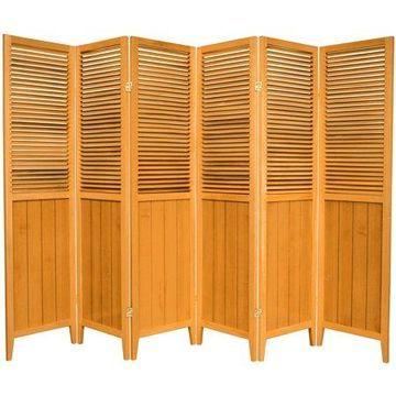 Oriental Furniture 6 Ft Tall Beadboard Room Divider, honey, 6 panel