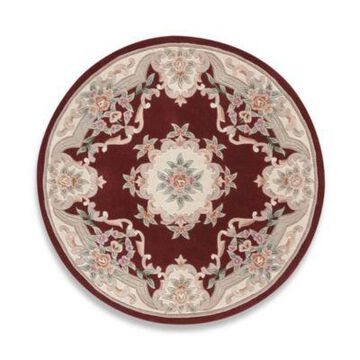 Rugs America New Aubusson 6-Foot Round Rug in Burgundy