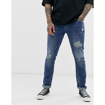 Only & Sons slim fit distressed jeans in mid blue wash