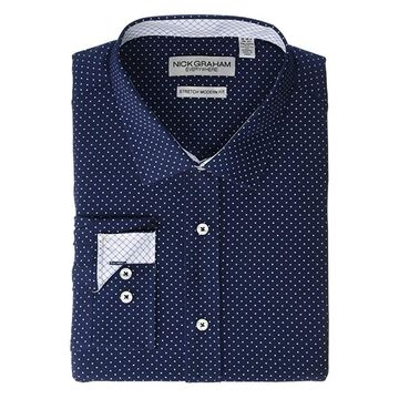 Nick Graham Pindot Stretch Dress Shirt (Navy) Men's Clothing