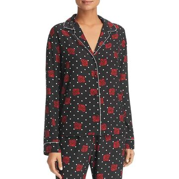 Three Dots Womens Floral Polka Dot Button Down Top Black