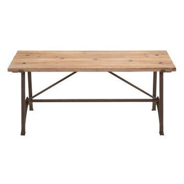 Decmode Industrial Knotted Wood and Iron Rectangular Dining Bench, Beige