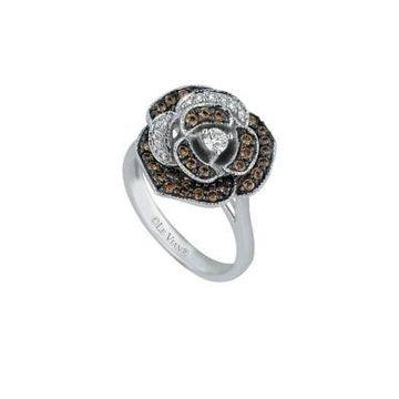 Chocolatier 14K Vanilla Gold, Vanilla & Chocolate Diamonds Flower Ring
