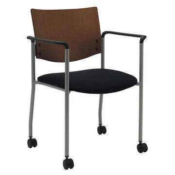 KFI Evolve Guest Chair with Arms a Chocolate Wood Back and Casters (Burgundy Fabric)