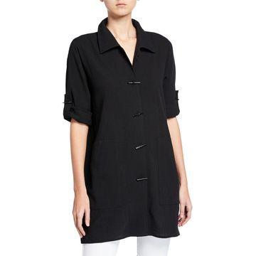 Crinkle Cotton Button-Front Long Shirt