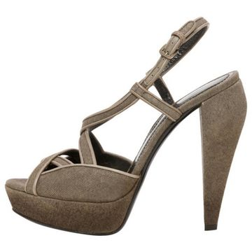Burberry Brown Cloth Sandals