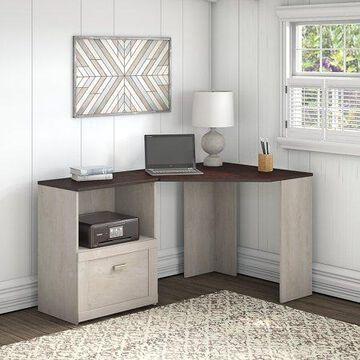Bush Furniture Townhill Corner Desk with File Cabinet