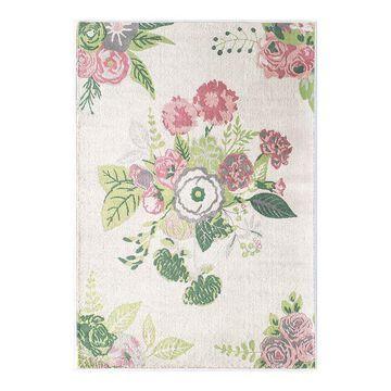 Rugs America Rose Garden Rug, White, 8X10 Ft