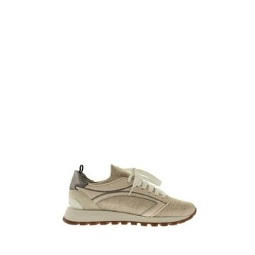 BRUNELLO CUCINELLI Linen and Cotton Knit and soft Nappa leather runners with shiny detail