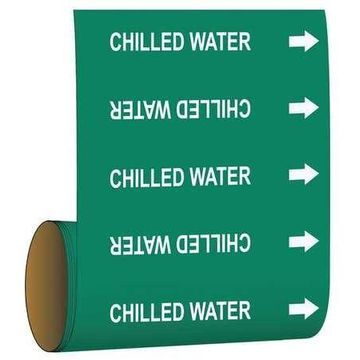 BRADY 15517 Pipe Marker,Chilled Water,Green