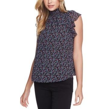 1.state Flutter-Sleeve Printed Top