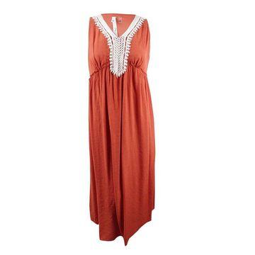 NY Collection Women's Plus Size Crochet-Trim Crinkle Maxi Dress
