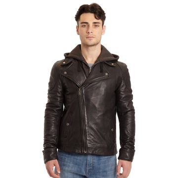 Men's Excelled Lamb Leather Hooded Moto Jacket