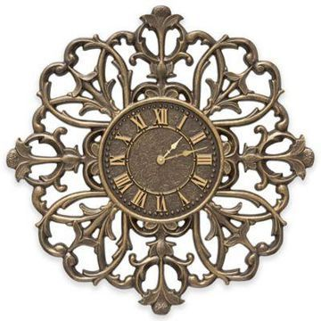 Whitehall Products 21-Inch Filigree Silhouette Indoor/Outdoor Wall Clock in French Bronze