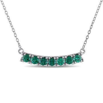 Miadora Sterling Silver Created Emerald Bar Necklace