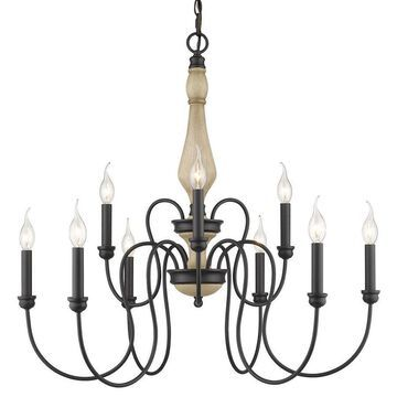 Golden Lighting Suzette 9-Light Natural Black Traditional Chandelier