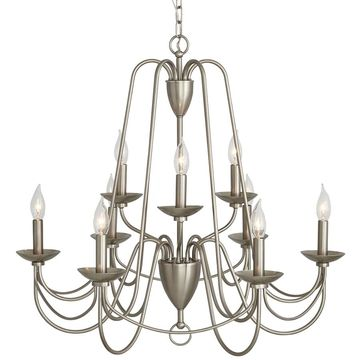 allen + roth Wintonburg 9-Light Brushed Nickel French Country/Cottage Candle Chandelier