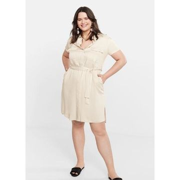 Violeta BY MANGO - Belt shirt dress beige - 16 - Plus sizes