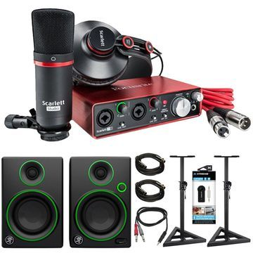Focusrite Scarlett 2i2 USB Audio Interface & Recording Kit + Speaker Bundle
