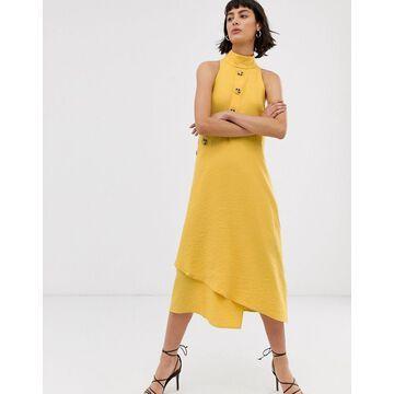 ASOS WHITE asymmetric button through sleeveless midi dress-Yellow
