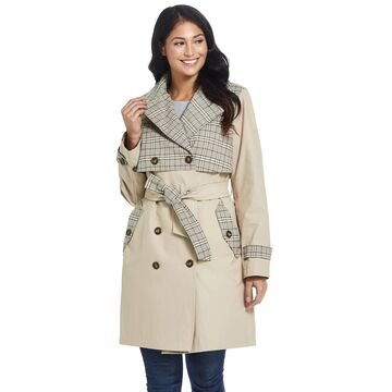Women's Ellen Tracy Plaid Trench Coat