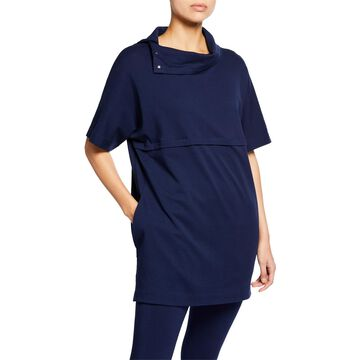 Cowl-Neck Elbow-Sleeve Easy Tunic with Pockets