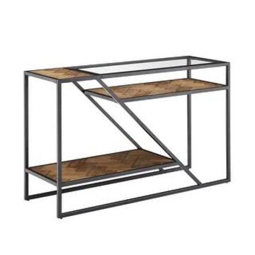 Kita Black Metal Parquet Wood and Glass Sofa Table by iNSPIRE Q Modern - Sofa Table