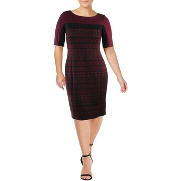 Gabby Skye Womens Jacquard Pattern Cocktail Dress