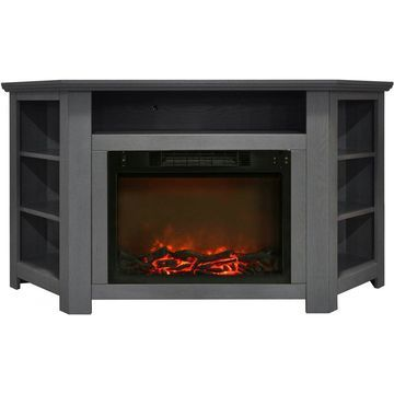 Cambridge CAM5630-1GRY Stratford 56 In. Electric Corner Fireplace in Gray with 1500W Fireplace Insert