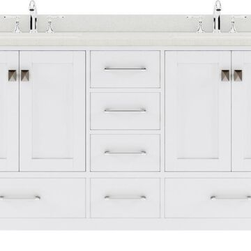 Virtu USA Caroline Avenue 60-in Double Bath Vanity in White with Dazzle White Top and Square Sink | GD-50060-DWQSQ-WH-NM
