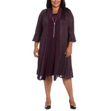 R & M Richards Plus Size Necklace Dress & Sparkle Jacket