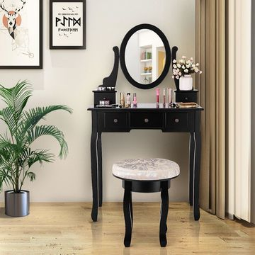 Vanity Table Set Makeup Table Cushioned Stool Mirror 5 Drawers Black