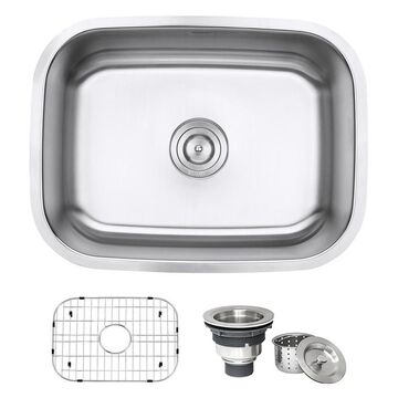 Ruvati Parmi Undermount 24-in x 1725-in Brushed Stainless Steel Single Bowl Kitchen Sink