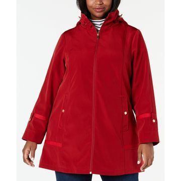 Plus Size Hooded Balmacaan Raincoat