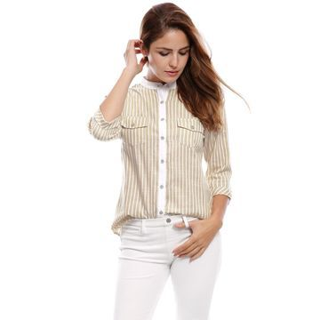Unique Bargains Women's Rolled Sleeves Stand Collar Buttoned Striped Shirt